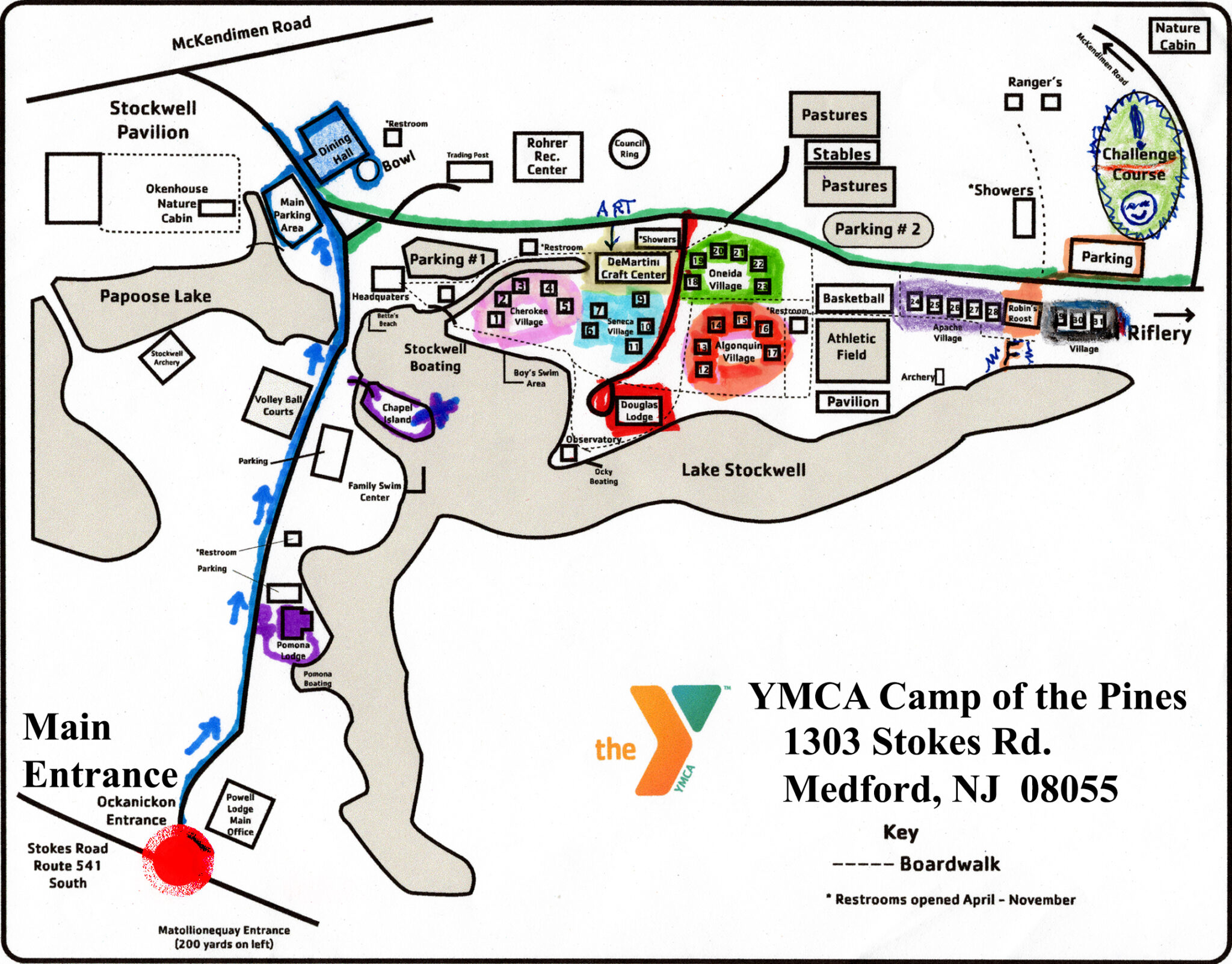 ymca camp of the pines map